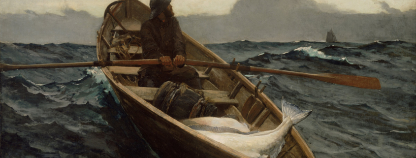 This painting by Homer Winslow shows a fisherman alone in a dory with several caught halibuts. He sees the fog blowing up and finds it threatening. He calmly rows back to his ship with a face of determination . He looks over his shoulder at the fog streaming in.
